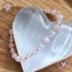 Rose Quartz & Silver Bead Bracelet